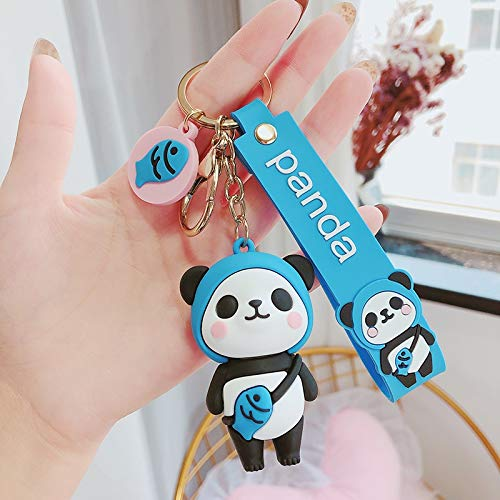 Neaer Key Chains Cute cartoon Panda keychain Silicone Key chains For Women 3D Animal Keyrings Charm Car Key Holder bag ornaments gifts Cartoon keychain (Color : Blue)