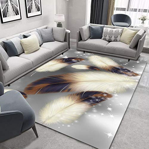 LHGBGBLN Star Point Feather 3D Alfombra Mesa de café tapetes para el Piso Sala de Estar Alfombra para el hogar tapete Antideslizante tapete para el Piso del Pasillo Alfombra para Puerta
