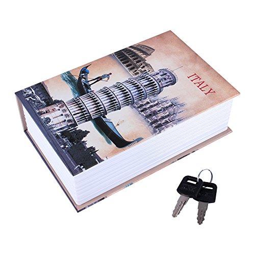 Caja Fuerte Libro, Haofy Cajas Seguridad en Forma de Libro, Caja Almacenamiento Pequeña para Poner Joyas, Monedas, Dinero, Objetos de Valor (Italian Style)