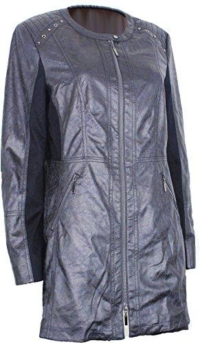 Gelco Damen Jacke Mantel Blazer Velours blau grau Frühjahr (44)