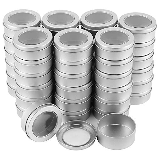 2 Ounce Metal Tin Cans, Empty Container Tin Cans, Refillable Spice Candle Tins for Gift Giving, Candle Making, Lip Balm