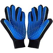 FMU [Upgrade Version] Pet Grooming Glove - Deshedding Brush Gloves for Dogs Cats - Pet Hair Remover Gloves for Long & Short Fur - Enhanced Five Finger Design - Pet Glove Hair Removal - 1 Pair