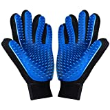 kelzsm [Upgrade Version] Pet Grooming Glove - Deshedding Brush Gloves for Dogs Cats - Pet Hair Remover Gloves for Long & Short Fur - Enhanced Five Finger Design - Pet Glove Hair Removal