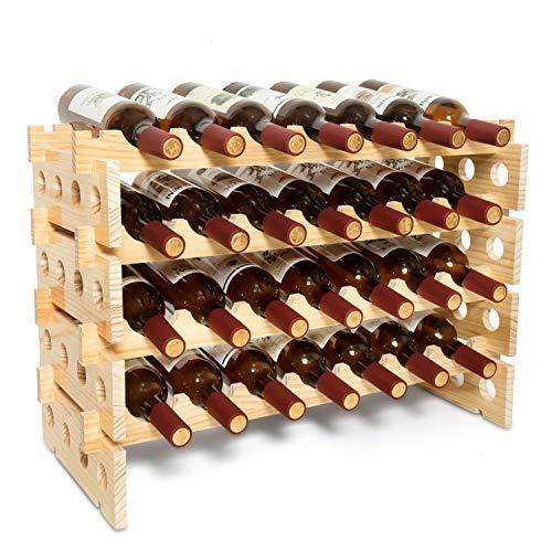 June Fox Modular Wine Racks Free Standing Floor, Stackable Wooden Wine Holders Stander Storage for Floor Countertop Tabletop (Four-Layer, 28 Bottle Capacity)