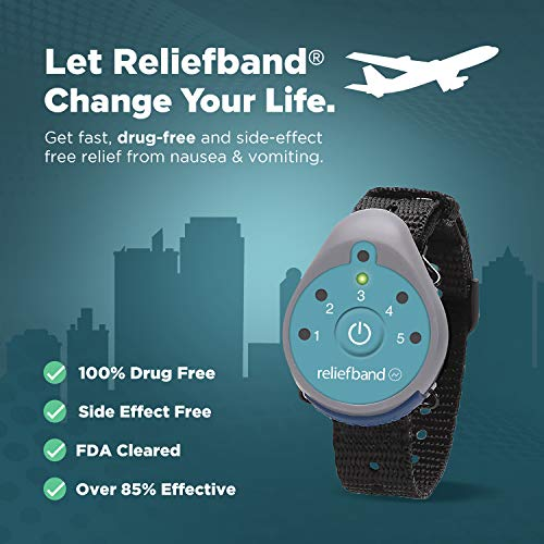 Reliefband Classic Anti-Nausea Wristband   FDA Cleared Nausea & Vomiting Relief for Anxiety, Migraine, Motion Sickness (Car, Air, Train, Sea) Hangover & Morning Sickness   Drug Free (Teal)