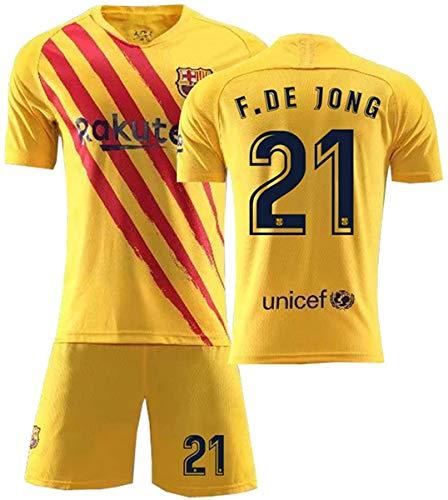 Yushoe Barcelona Jersey 2021 Way Messi FC Men Kids Football T-Shirt Sets,F.de Jong 21,26