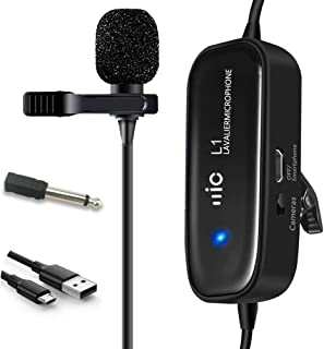 Professional Lavalier Microphone, Champhox MK01 Indicator Light Clip-on Rechargeable Condenser Lapel Mic for DSLR Camera, Smartphone, YouTube Podcasting, ASMR, iPhone, Android, Computer (236in/20ft)