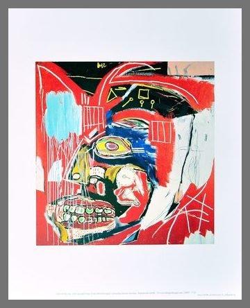 Germanposters Jean-Michel Basquiat In This Case 1983 Poster Kunstdruck Bild im Alu Rahmen in Champagne 42x34cm