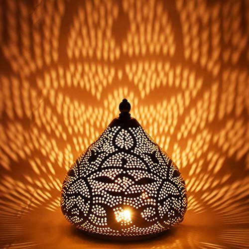 Orientalische kleine Tischlampe Lampe Maysa 21cm Silber | Marokkanische Tischlampen klein aus Metall, Lampenschirm silberfarben | Nachttischlampe modern, für Vintage, Retro & Landhaus Stil Design