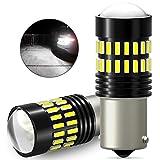 AUXITO S25 LED シングル バックランプ ホワイト 爆光 (1156 BA15S ピン角180°) 12V 対応 バックライト 4014SMD 48連 後退灯 2個バルブ 一年保証付き