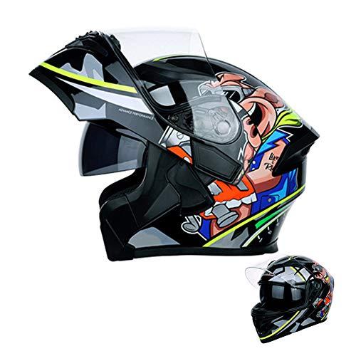 Motorradhelm,Adult Integralhelm Fullface Klapphelm Motorrad Roller Sturz Helm für alle Jahreszeiten, Crosshelm mit Sonnenblende für Downhill Helm mit Hochauflösende Antibeschlaglinsen,Gelb,XL
