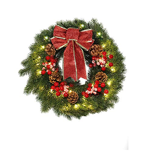 MorTime 16 Inches LED Christmas Wreath with Pinecones Red Berries, Red Bowknot Lighted Christmas Wreath with 40 LED Warm White Lights for Winter Holidays Home Decoration (Christmas)