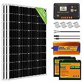 ECO-WORTHY Sistema completo de panel solar de 360 W (3 piezas 120 W) 12 V con controlador de carga solar + inversor sinusoidal puro + batería de litio LiFePO4 para casa y barco RV