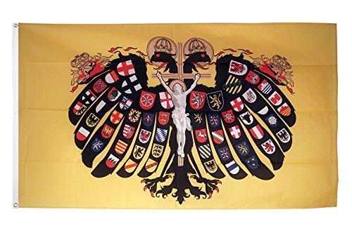 Flaggenfritze Fahne/Flagge Heiliges Römisches Reich Deutscher Nation Quaterionenadler + gratis Sticker