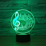 Note di musica Creativo LED Luce notturna 3D USB Mood colorato Tavolo scrivania Lampada decorativa Lampada da notte per bambini Sleepping I migliori regali