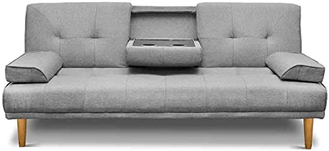 Artiss Sofa Bed Adjustable 3 Seater Couch Recliner Fabric Lounge, Grey