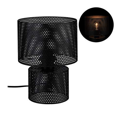 Relaxdays zwart, tafellamp, ronde bedlampje van metaal, modern industrieel design, E27, 27,5 x 20,5 cm, zwart