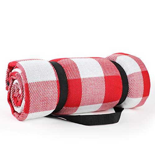 Simpeak Picknickdecke Wasserdicht 200x200 XXL Outdoor, Picknickdecke Wärmeisoliert für Strände/Picknicks/Parks/Camping und Outdoor-Aktivitäten Picknick Matte (Rot und Weiß, Orlon)