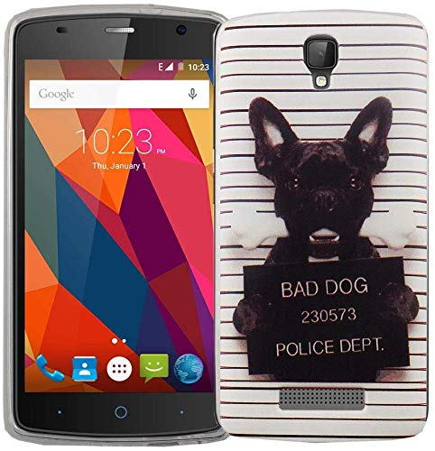 König Design Handy-Hülle kompatibel mit ZTE Blade L5 Plus Silikon Case Hülle Sturzsichere Back-Cover Handyhülle - Bulldogge Weiß