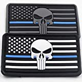 REBEL METTLE Tactical Hat/Cap Accessory – Thin Blue Line Police Punisher Hook & Loop Morale Patch – PVC – (2-Pack)