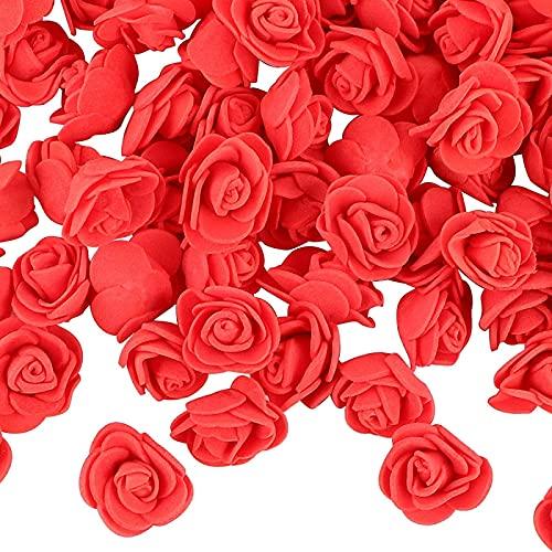 YYHMKB 200 Uds Mini Espuma de Flores de Rosas Artificiales pequeñas Cabezas de Rosas Artificiales para Manualidades de Bricolaje decoración de Fiesta de Boda en casa Rojo