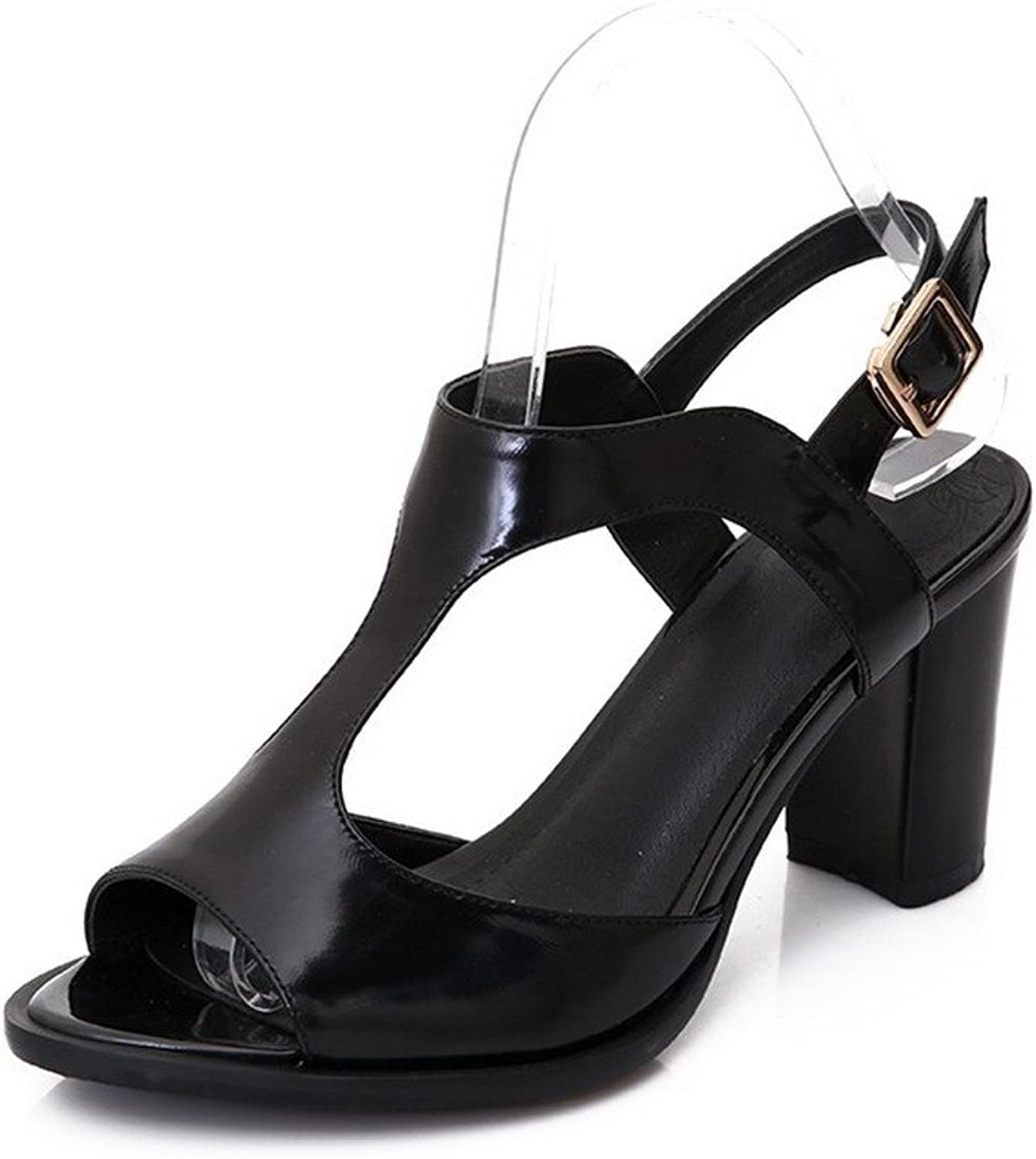 AmoonyFashion Women's Solid Soft Material High Heels Buckle Open-Toe Sandals
