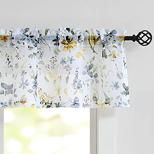 """Fragrantex Window Valance Yellow Kitchen Curtains 15 Inch Length Yellow and Grey Flower Print on Linen Texture Sheer Short Tiers for Bathroom 56"""" Wx 15"""" L Multi Color,1 Panel"""