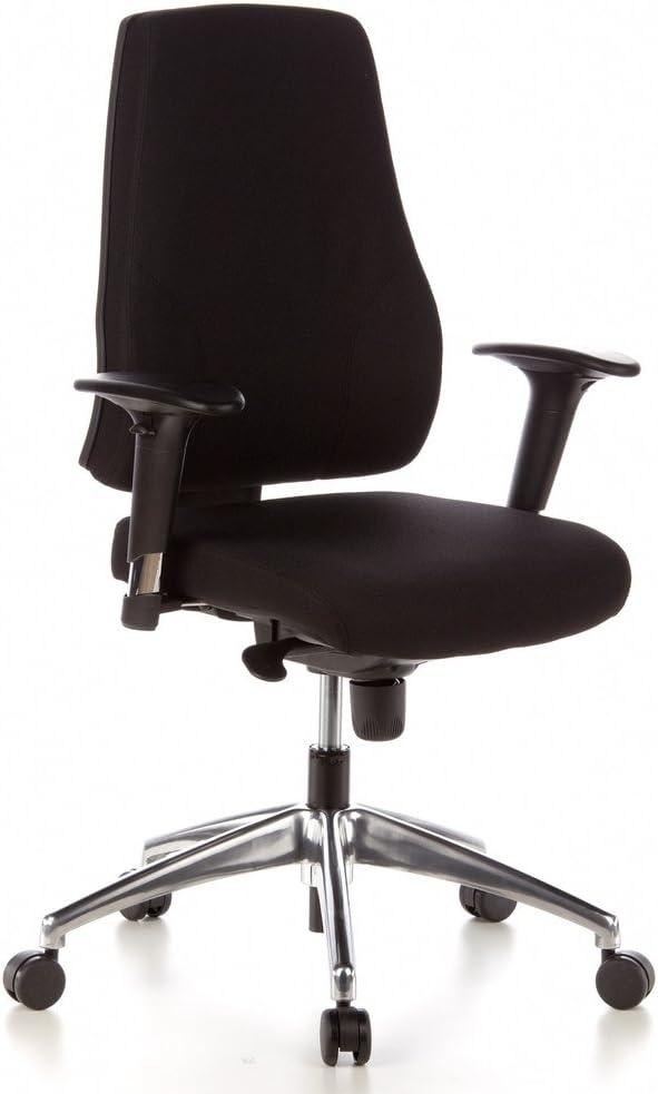 hjh OFFICE 608000 Profi Bürostuhl PRO-TEC 200 Stoff Schwarz Drehstuhl ergonomisch, Arm- & Rückenlehne höhenverstellbar