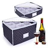 2 fundas de almacenamiento para copas de vino, con divisores para guardar 12 vasos, ideal para copas de champán, tazas de café, tazas de té, copas de cristal, color gris
