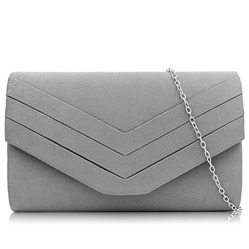 Milisente Damen Clutch, Wildleder Clutch Umschlag Crossbody schultertasche Clutch Tasche Abendtasche (Grau)