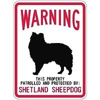 WARNING PATROLLED AND PROTECTED SHETLAND SHEEPDOG マグネットサイン:シェットランドシープドッグ(レギュラ.