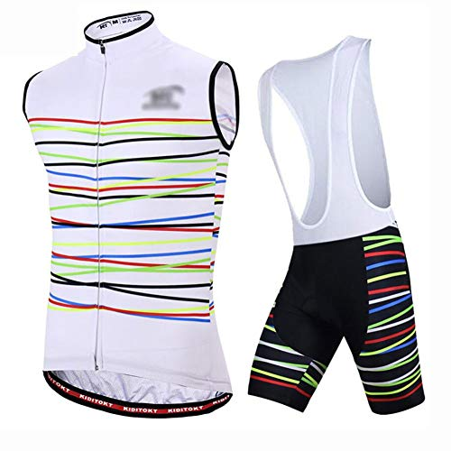 YXX Outdoor Sports Cycling Jersey Suit Bicycle Sportswear Team Vest Or Sleeveless Bib Shorts Set Biking Racing Top Vest,White,L