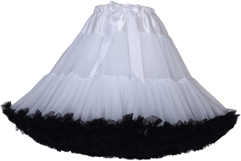 URVIP Women's Elastic High Waist Ballet Skirt Princess Mesh Tulle Fluffy Skirts