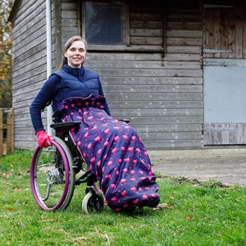 Wheelchair Blanket | Fleece-Lined & Waterproof | Universal fit for Manual and Powered wheelchairs | Adult Size (Navy…