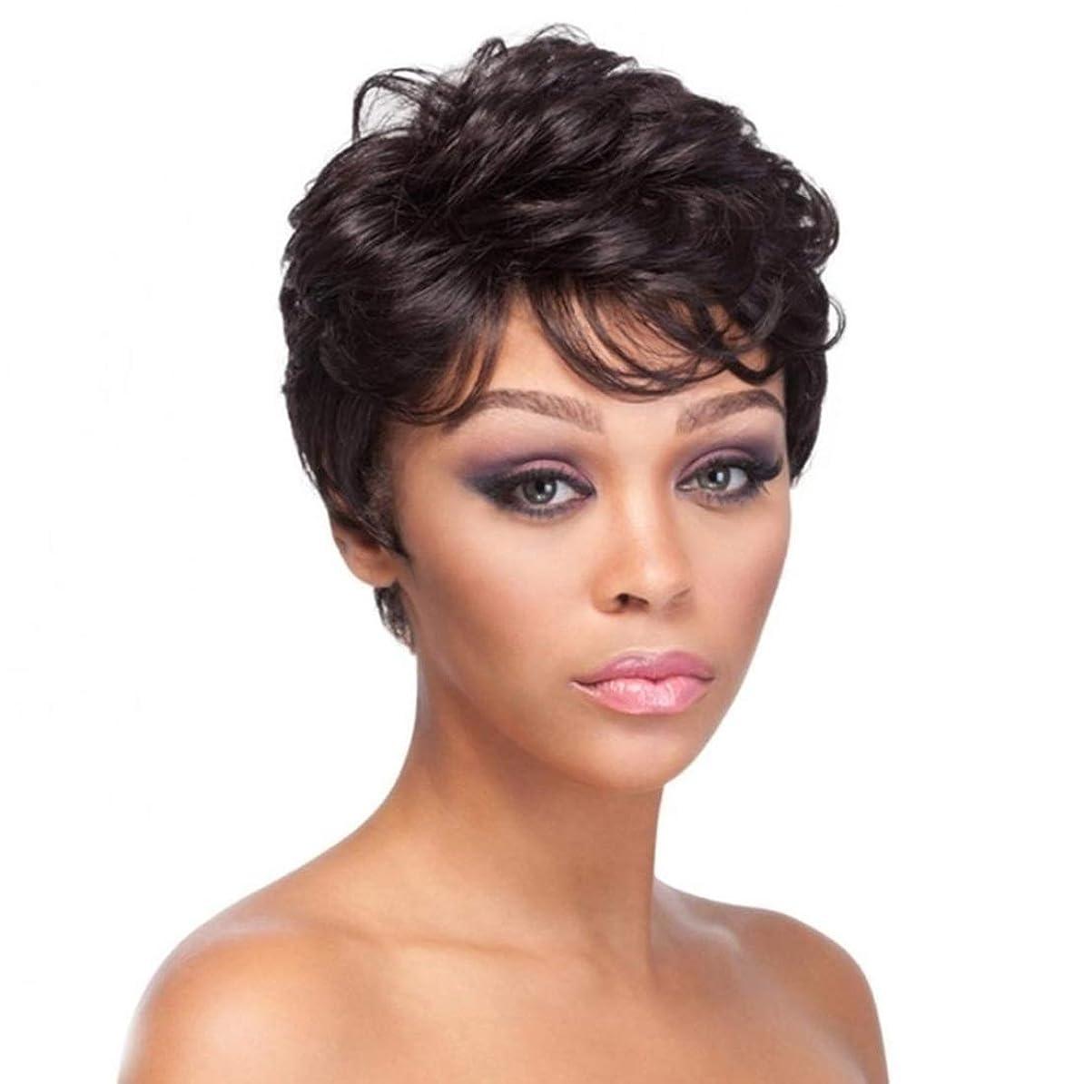 曖昧なウッズユーザーKoloeplf 女性のための短い巻き毛のかつら前髪合成繊維のかつらでかつらかつら