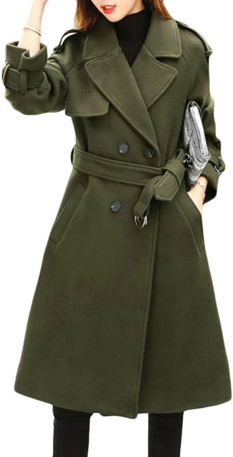 Joe Wenko Womens Warm Jacket Lapel Autumn Winter Double Breasted Outwear Belt Pea Coat