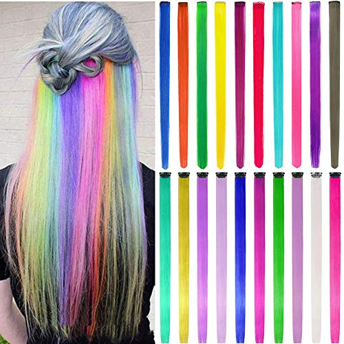 Colored Hair Extensions for Kids Girls 22pcs Rainbow Hair Extensions Clip in Colorful Hair Extensions 22 Inch Multi-color Straight Hair Party Highlights Synthetic Hairpiece (Straight hair)