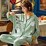 CIDCIJN Pijama para Mujer,Moda Ropa De Dormir 2 Piezas para El Algodón De Las Mujeres Pijamas Turn-Down Collar Homewear De Gran Tamaño Pijama Pjama,Blue,XL