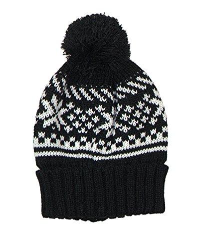 Accessoryo - Unisexe Tricot Bonnet Noir avec Motif Blanc Fair-Isle et Bobble