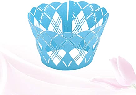 TOYANDONA 50pcs Wrappers Muffin Creative Delicate Laser Cut Lovely Cake Edge Cupcake Wrapper Liner for Wedding Birthday Party Decoration Blue