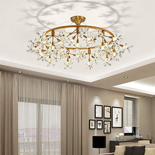 ChangHua1 LLEVÓ La Flor De Cristal Araña Villa Hotel Sala De Estar Dormitorio Comedor Luz De Techo De Lujo Europeo Luz Colgante De Oro 60 * 60 * 30 Cm Decoración