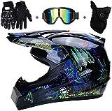 Casco Moto Motocross Bambino - Motarrd Cross Integrali Downhill DH ECE Omologato Caschi Set con Occhiali Maschera e Guanti (Size : M)