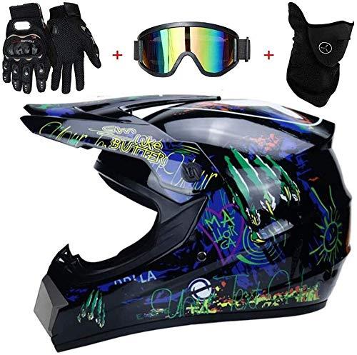 Casco Moto Motocross Bambino - Motarrd Cross Integrali Downhill DH ECE Omologato Caschi Set con Occhiali Maschera e Guanti (Size : L)