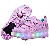 ZKK LED Luces Zapatillas con Ruedas Unisex Niños Luz Flash Zapatos Roller con Ajustables Ruedas Zapatos Roller para Niños Niñas Los Mejores Regalos,Pink-28