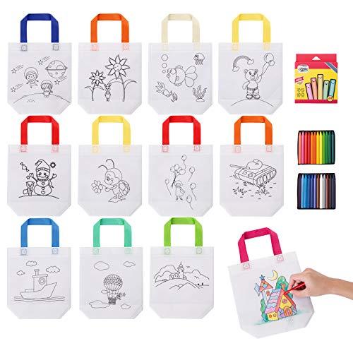 Kesote DIY Graffiti Taschen 12x Stoffbeutel zum Bemalen Kinder Stofftaschen mit 24 Buntstifte zum Basteln für Kindergeburtstag Mitgebsel Kindergarten Party Weihnachten