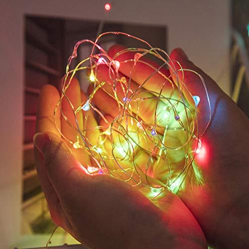 Lámpara de hada LED, alambre de cobre, botón de batería, ramo de flores, caja de regalo, decoración de vacaciones, farolillos, 5 m50LEDS