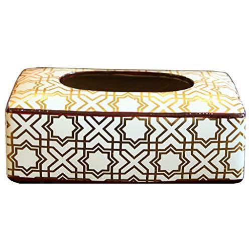 MSF Tissue Box Huishoudelijke Office Rechthoekige Tissue Papier Houder Doos Cover Case Servet Houder - Elegante en stijlvolle Home Decoratie, Wit Keramiek, 25×13×6CM