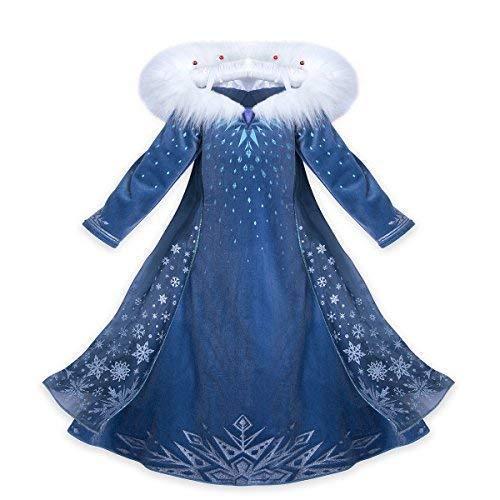 CIRAD Vestito Bambina Costume Ragazze Frozen Principessa Abiti Partito Vestito Elsa Anna (140 (7-8 Anni))