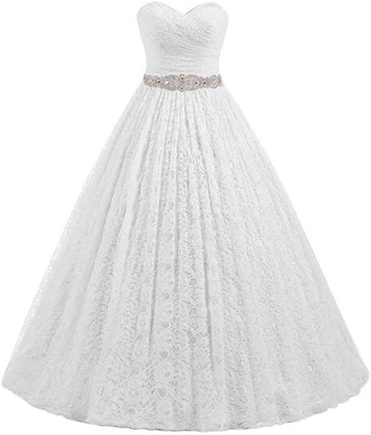 Aiyue Yishen Women's HeartShaped Lace Aline Floor Length Bride Wedding Dresses