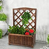 Doublelif Wood Garden Planter Box Raised Bed with Trellis for Climbing Plants Vegetable Tomato Flower, 35 Inch Height Free-Standing Planters for Garden Yard【Fast Delivery from The U.S.】